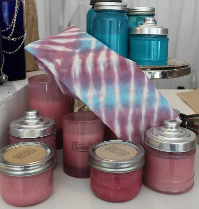Shibori scarves by Doris Lovadina-Lee, candles by @amysplacehandmade at Ontario Place Urban Market