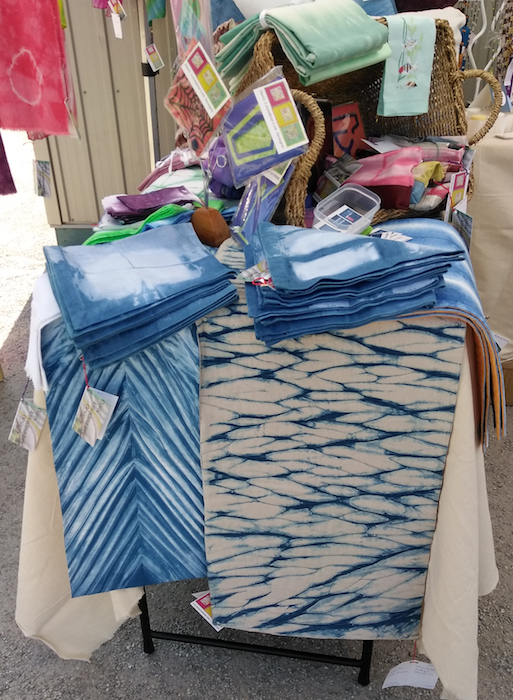 indigo table runners, napkins and vintage linens by doris lovadina-lee