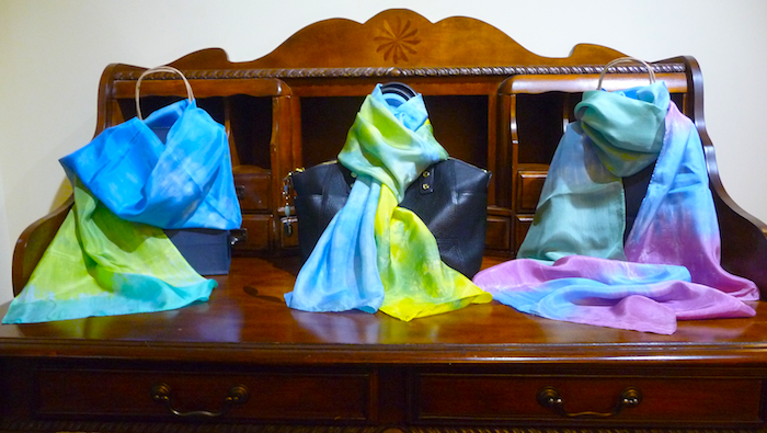 blue, yellow and green hand dyed shibori scarves by dorislovadinalee.com