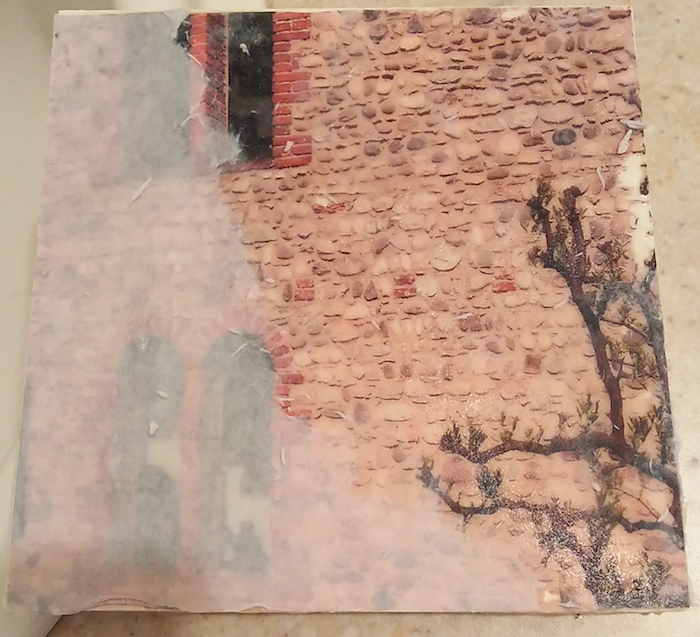 Photo image transfer of stone wall photograph taken in italy by doris lovadina-lee