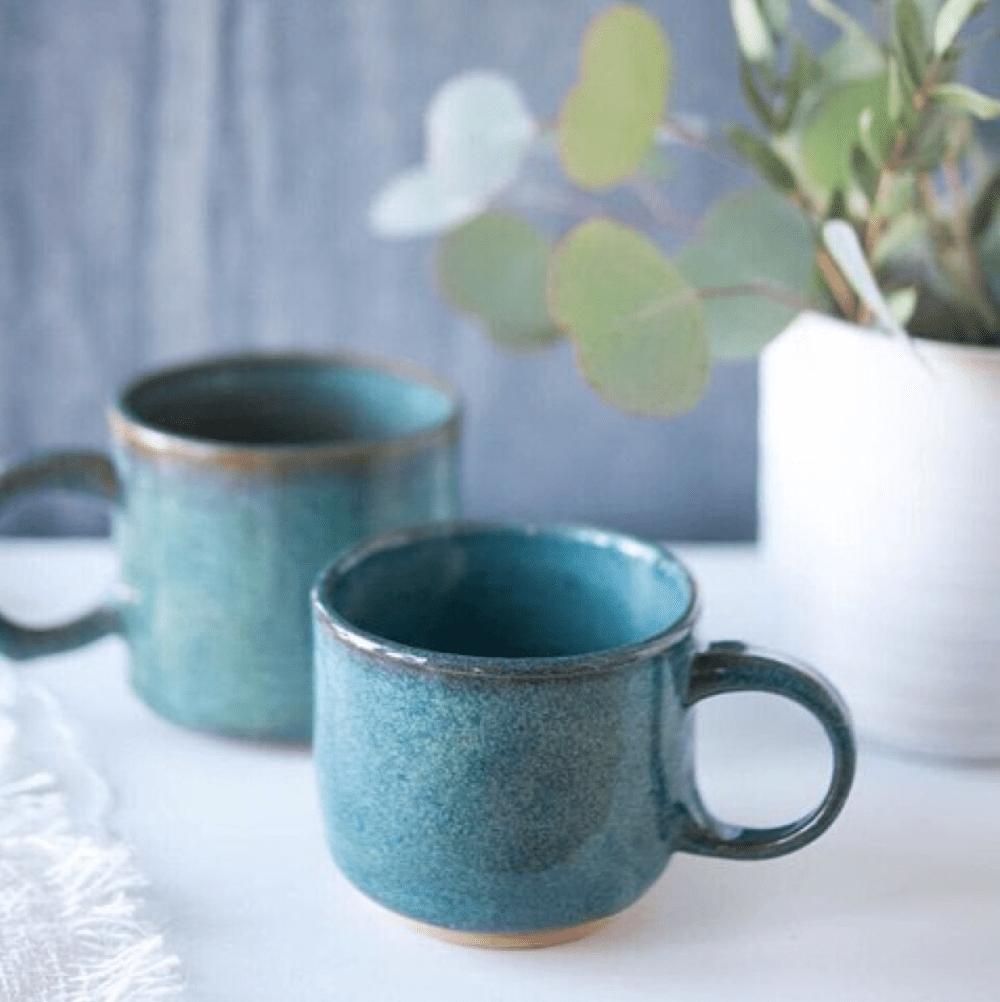 Teal Ceramic Mugs   Gather Goods Co