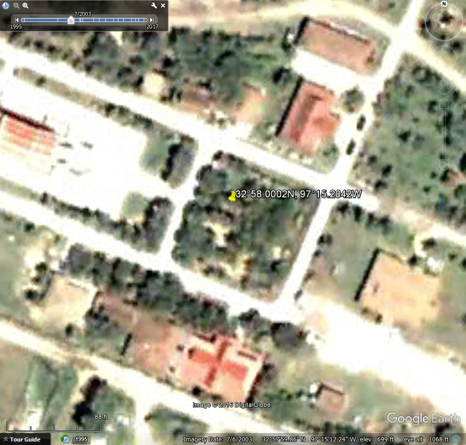 GPS Variations in Google Earth s Timed Satellite Images   Blog     Google Earth Satellite Map for July 6  2003  Buddhist Temple  Keller Texas
