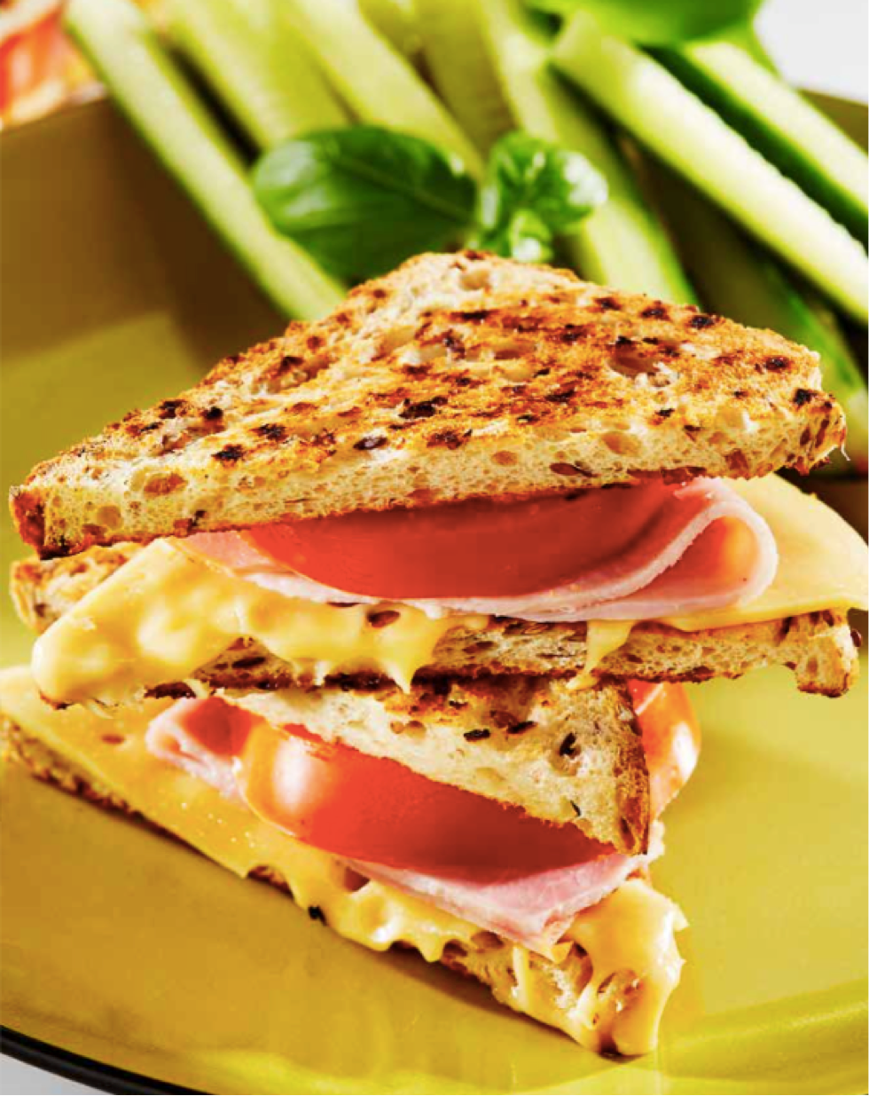 Grilled Ham, Tomato & Cheese Sandwiches with Cucumber and Tomato Salad