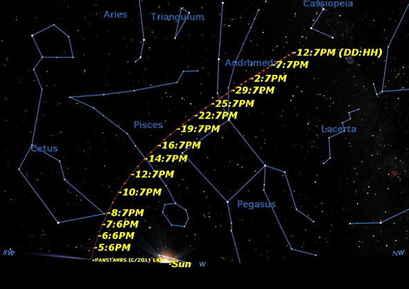 come PanSTARRS sky map