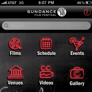 Una captura de la app de Sundance para el iPhone