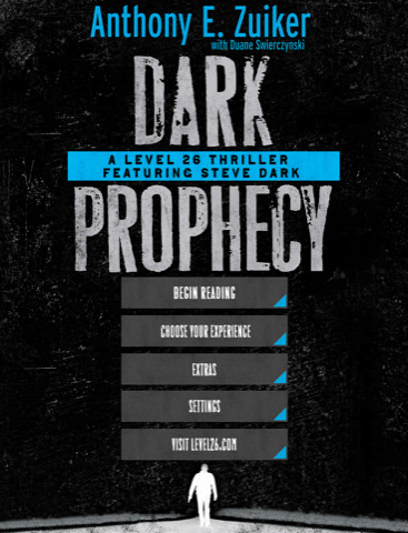 Level 26, Dark Prophecy, menú de la novela digital