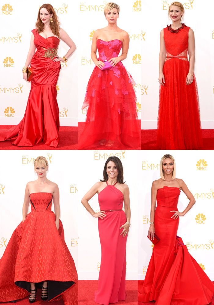 Ladies in red: Christina Hendricks, Kaley Cuoco-Sweeting, Claire Danes, January Jones e Giuliana Rancic