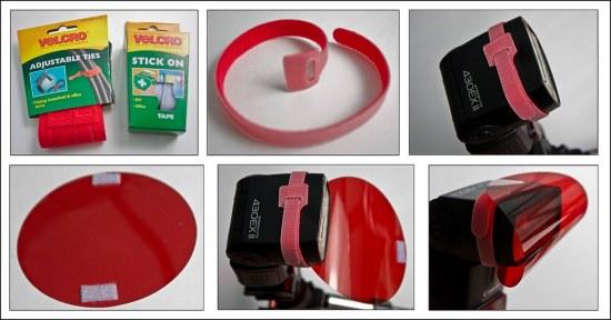 Ejemplos de adaptación de gelatinas a un flash