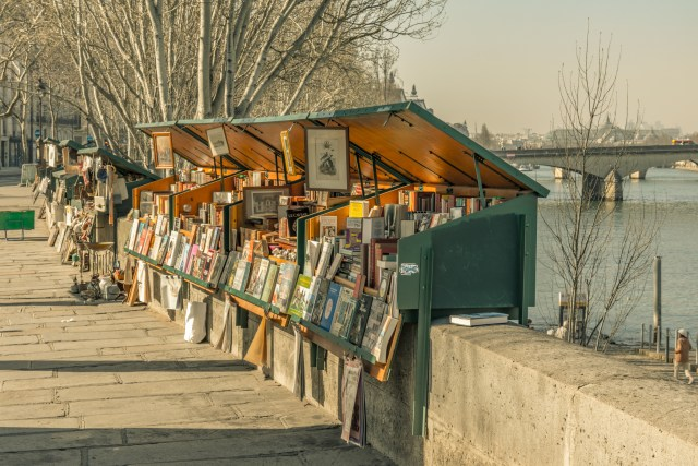 27 FEB 2019 - Paris, France - Bookstalls on the banks of the Seine near Notre-Dame