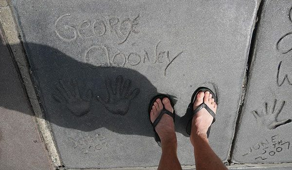 George Clooney concrete footprints