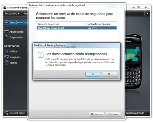 Restaurar backup de BlackBerry