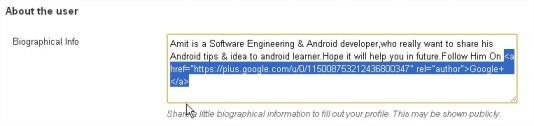 Author  Bio with Google Plus profile with rel author
