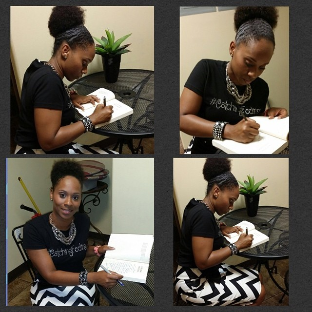 "Manor signing book copies. Check out that ""Catching Feelings"" Tee!"