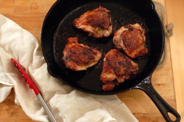 Crispy Mustardy Pan Fried Chicken Thighs