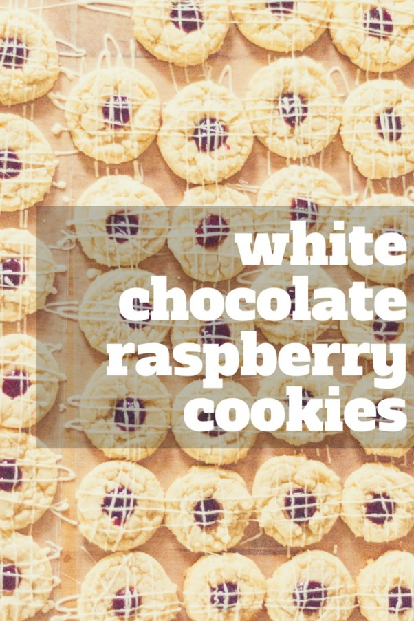 White Chocolate Raspberry Thumbprint Cookies. A beautiful and delicate cookie with white chocolate and raspberry jam. A simple recipe for home bakers.