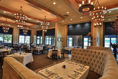 Our dining room offers views of the Hudson River