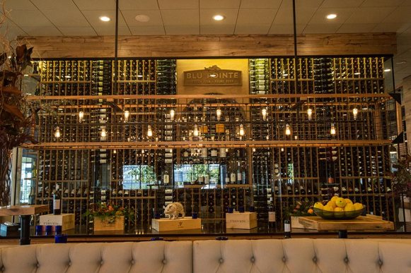 Our brunch bar with our wine cellar in the background