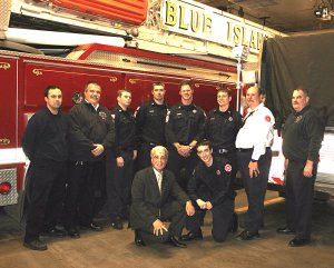 Mayor Vargas and FF Whitlock with Blue Island Chief Klinker and Firefighters