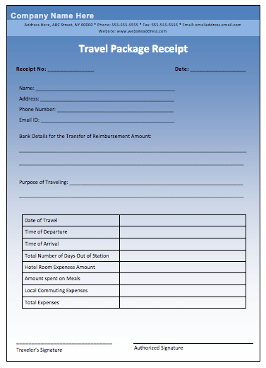 Travel Package Receipt Template