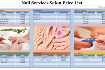 Nail Services Salon Price List Template
