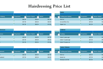 Hairdressing price list Template