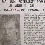 Cel mai bun fotbalist roman al anului 1981