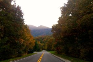 ©2014 Blue Ridge Life : Photos By Tommy Stafford : Heading down Route 664 from the Blue Ridge Parkway near the entrance to Wintergreen Resort the fall color seen on Three Ridges are breathtaking.