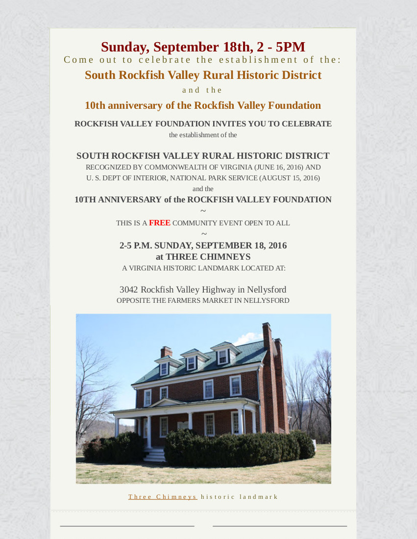 Rockfish Valley Foundation Celebrates 10 Year Anniversary This Sunday