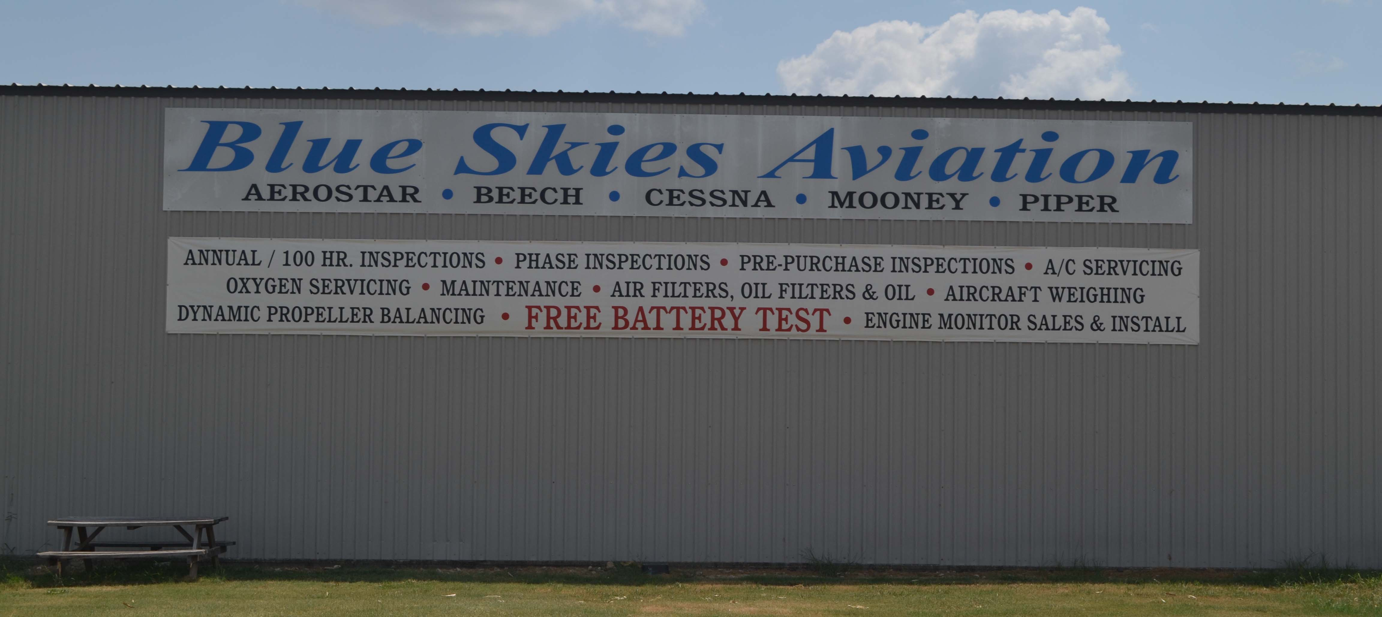 Blue Skies Aviation KHYI San Marcos Regional Airport GA Maintenance, Inspections, Installations
