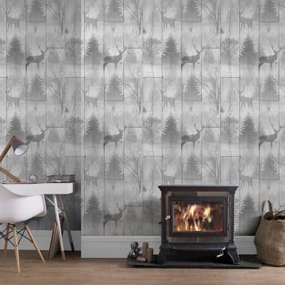 Highland Plank Wallpaper - Neutral | Wallpaper - B&M