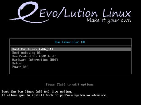 evolution-boot-screen