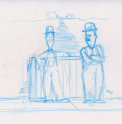 stan laurel and oliver hardy sketch by cartoonist Frank Page