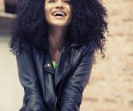 Afro happy latin woman