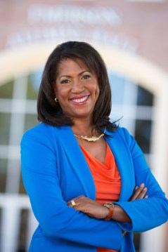 Portrait of Danita Nias, executive director of the University of Florida Alumni Association. Photographed on UF's campus in Gainesville, Florida with Emerson Alumni Hall in the background.