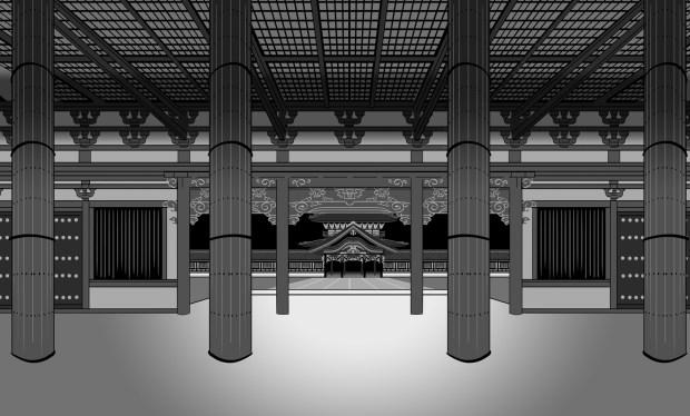 Extrait du travail sur les décors – ici dans une perspective à point de fuite unique, à la manière de Wes Anderson. © Glénat / Camille Moulin-Dupré