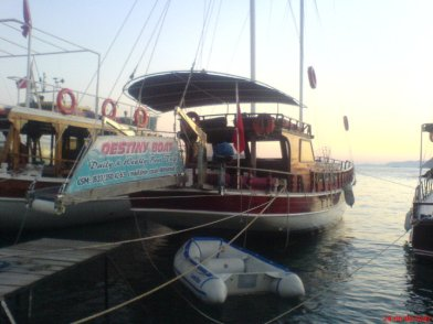 Destiny Boat moored at Turgutreis Harbour Turkey