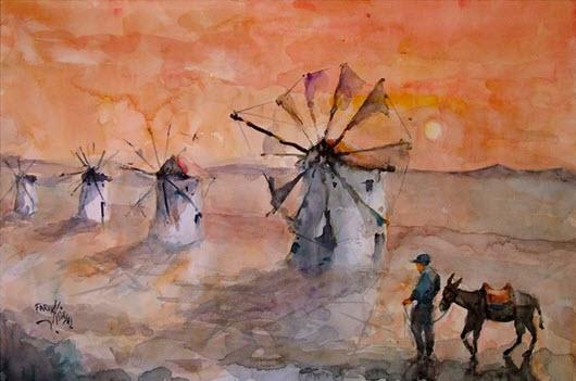 Bodrum Windmill at Sunset Watercolour by Faruk