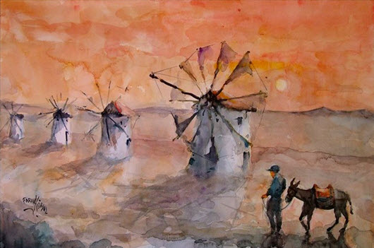 Bodrum Windmill at Sunset Watercolour by Faruk