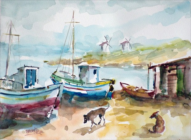 Watercolour of Windmills and Boats Bodrum Turkey