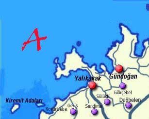 Map of the Bodrum Peninsula Turkey