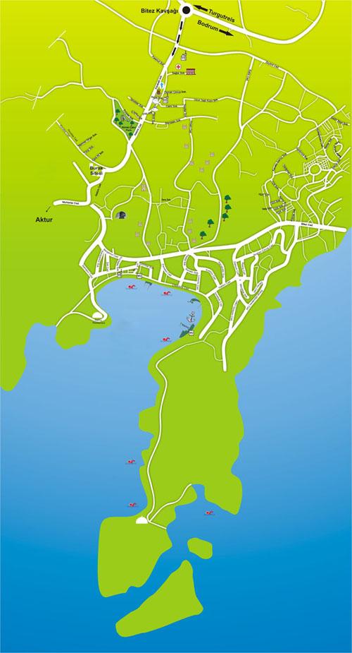 Map of Bitez Street Map Bodrum Peninsula Turkey