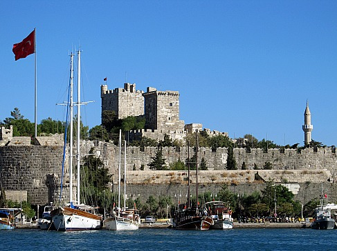 Bodrum Castle and boats Turkey