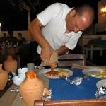 Teras Cafe Bodrum Turkey serving clay pot stew