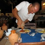 Teras Cafe Bodrum Turkey serving clay pot stew