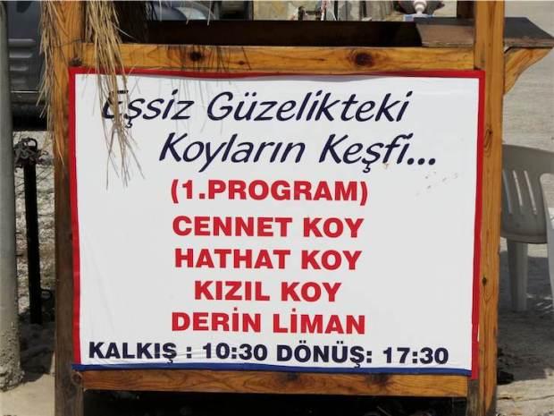 Gölköy Day Boat Trips Route 1