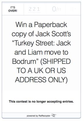 Rafflecopter for Jack Scott's Turkey Street