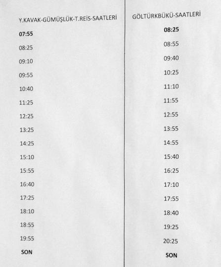 Times from Gundogan. Turkbuku to Turgutreis Coastal dolmus timetable 2016