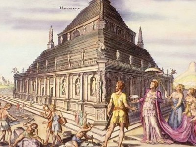 The Mausoleum of Halicarnassus, depicted in this hand-coloured engraving by Martin Heemskerck