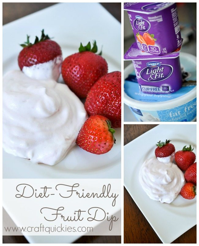 YUM!  I can't believe how simple this fruit dip is to make, and it is super diet friendly!