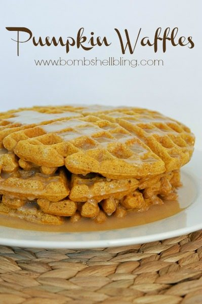 These pumpkin waffles are so delicious!! We make them all fall long, and they are PERFECT with homemade buttermilk syrup! #pumpkinrecipe #pumpkin #waffles